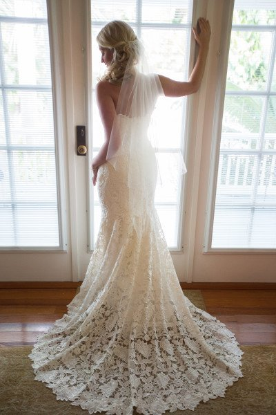 flowing white wedding dress