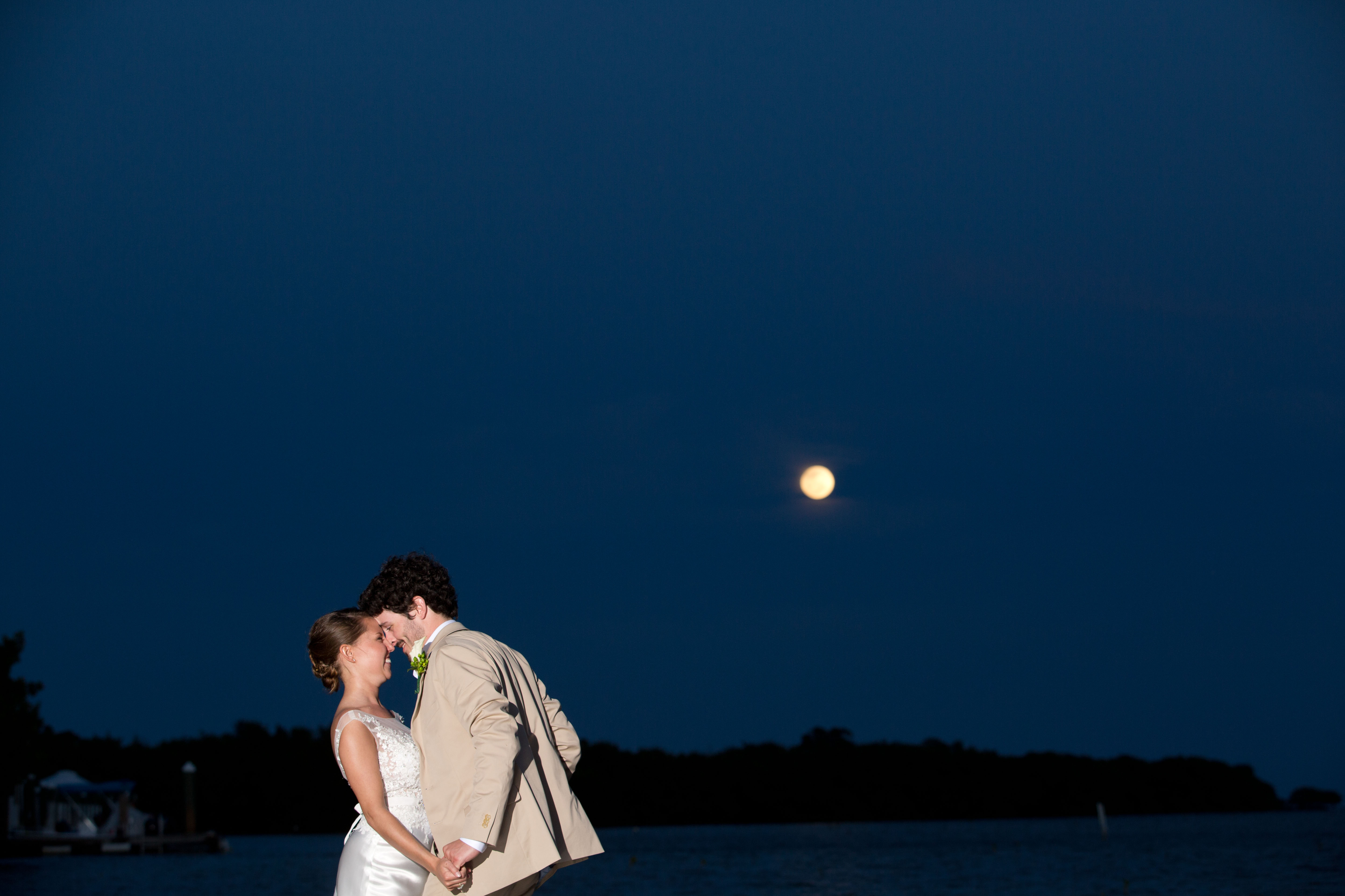 Bride and Groom under the moon