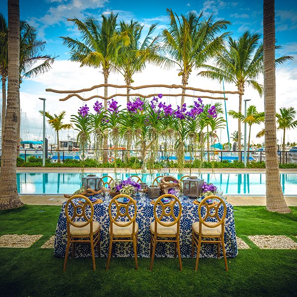 poolside reception with orchid chandelier