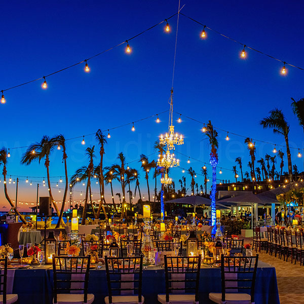 reception at dusk with string lighting