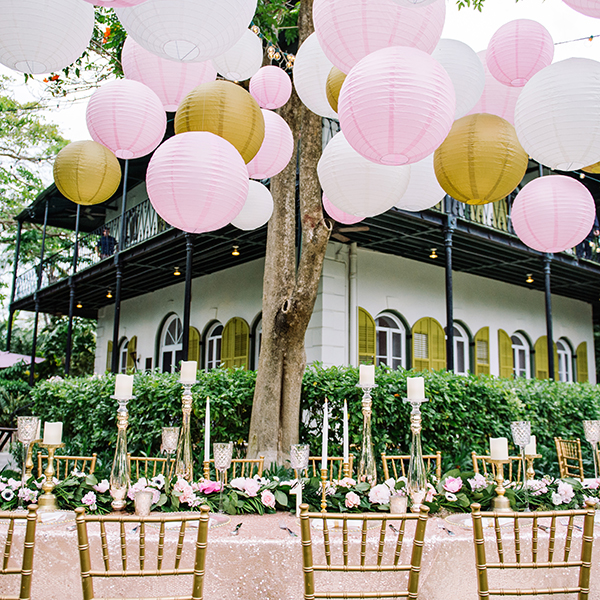 wedding reception with colorful lanterns